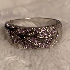 STAMPED 925 SILVER RING BLACK BRANCH/PURPLE STONES